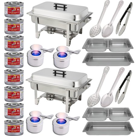 Chafing Dish Set w/Fuel — Divided pan (4qt x 2)+ Full Pan (8 qt) Water Pan + Frame + Fuel Holders + 8 Fuel Cans + Two 15