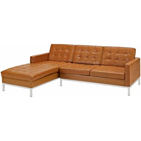 Modway Loft Leather Right-Arm Corner Sectional Sofa, Multiple Colors