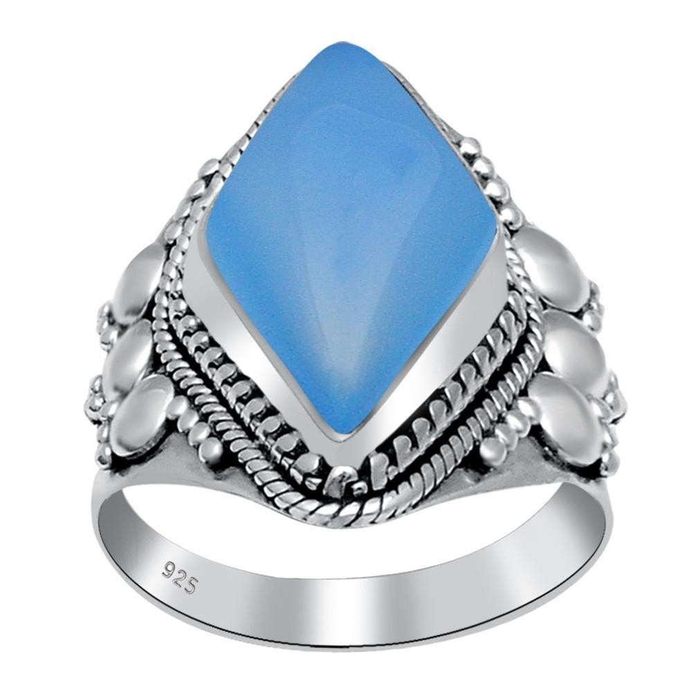Orchid Jewelry 8.00 Carat Blue Chalcedony 925 Sterling Silver Ring by Orchid Jewelry