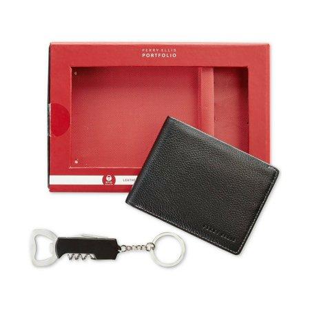 Perry Ellis Men's Leather Passcase & Corkscrew Keychain, Black - NEW Flip Flops Genuine Leather Keychain