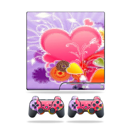Skin Decal for Sony Playstation 3 PS3 Slim + 2 controllers sticker Beaming Heart