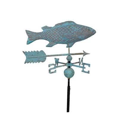 Furniture Barn USA™ Patina Finish Copper Fish Weathervane with Free Roof -