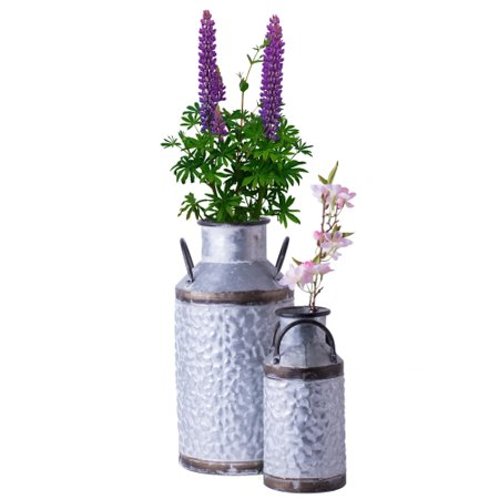 Rustic Farmhouse Style Galvanized Metal Milk Can Decoration Planter and Vase, Set of 2