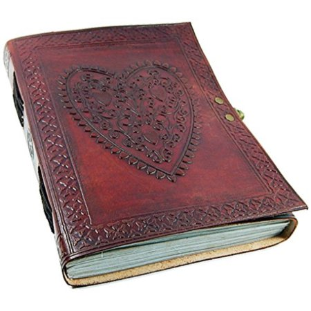 - large vintage heart embossed leather journal/instagram photo album (handmade paper) - coptic bound with lock closure