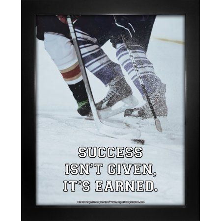 Quote Framed Poster - Framed Ice Hockey Success Quote 8 x 10 Sport Poster Print