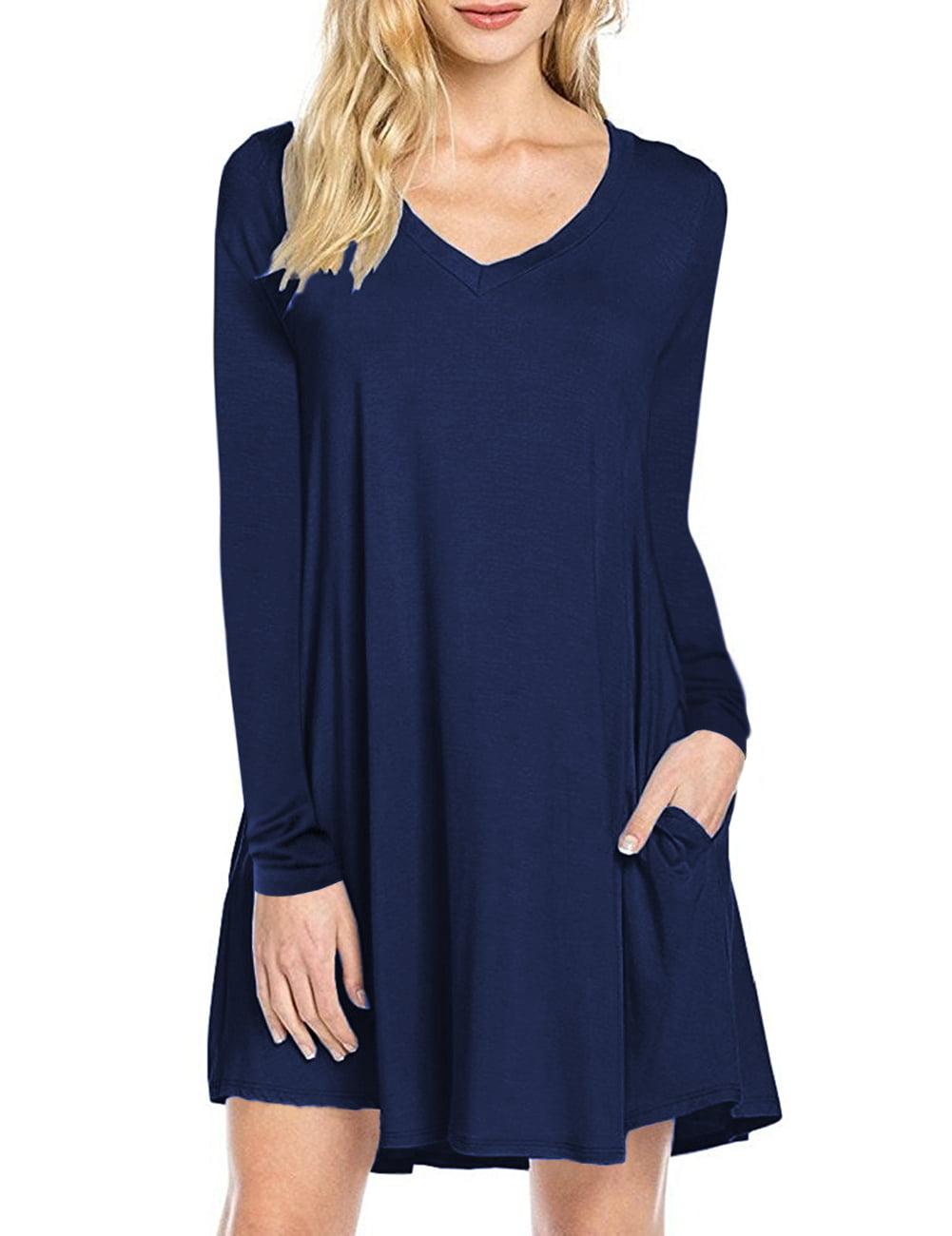 Womens Long Sleeve Casual Loose T Shirt Dress Walmart