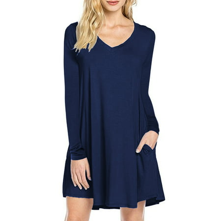Women's Long Sleeve Casual Plain Flowy Simple Swing T-Shirt Loose Dress](Casual Flowy Dresses)