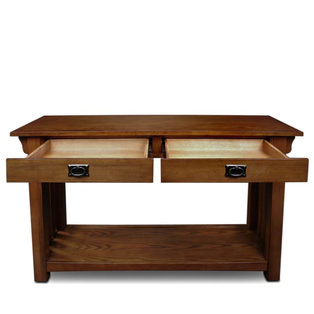 leick furniture mission console table with drawers and shelf in oak walmartcom - Leick Furniture