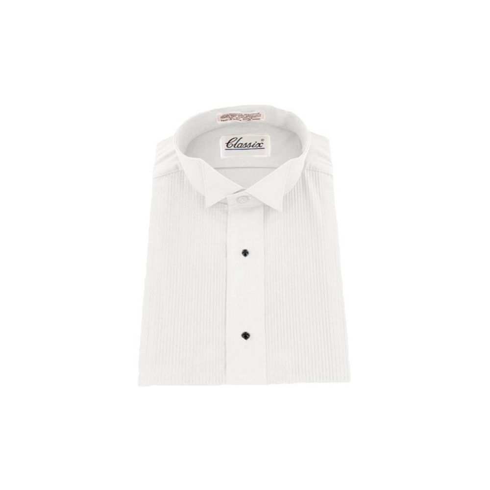 Boys Premium Wing Collar Pleated Cream Cufflink Shirt Kids White Shirts