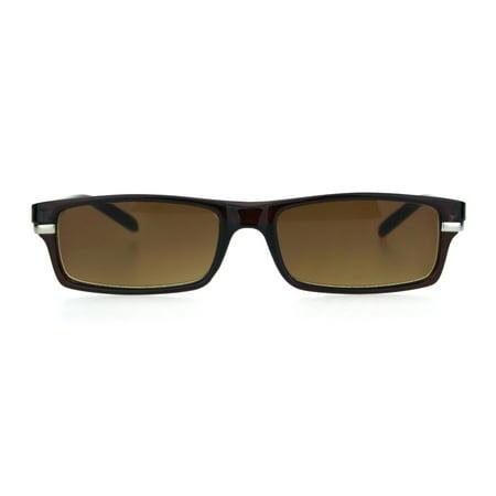 Sun Reader (Mens Narrow Rectangular Plastic Powered Sun Reader Reading Glasses Brown)