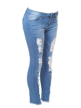 Cover Girl Women's Size Distressed Torn Skinny Jeans, Distressed Blue, Plus 24W