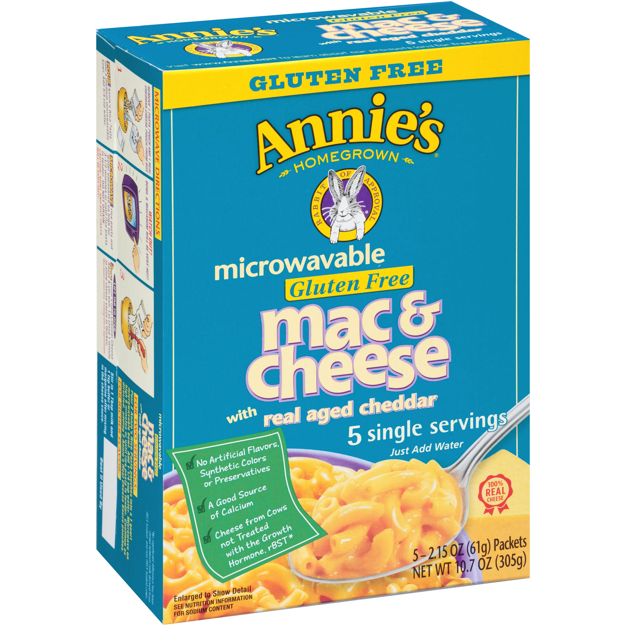 Annie's Homegrown Microwavable Gluten Free Mac & Cheese with Real Aged Cheddar, 2.15 oz, 5 count
