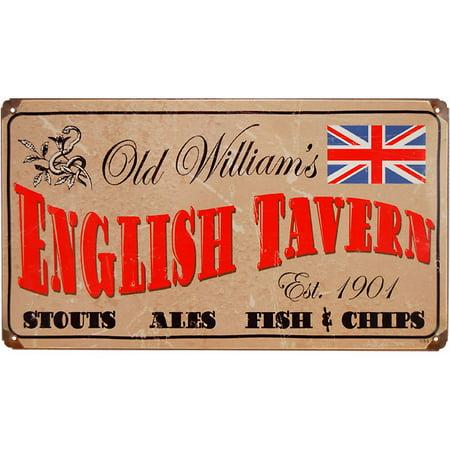 Old William's English Tavern Vintage Metal Bar Sign