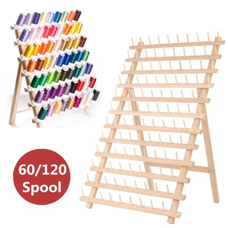 Grtxinshu Wooden Foldable Thread Rack Sewing Embroidery Organizer Holds 60/120 Standard Thread Spools