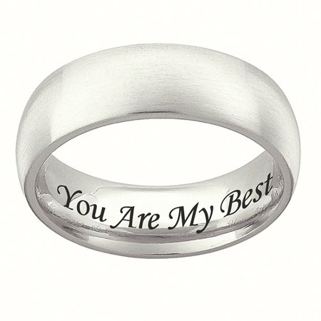 Personalized Stainless Steel Wedding Band 7mm