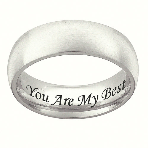 Personalized Stainless Steel Wedding Band, 7mm