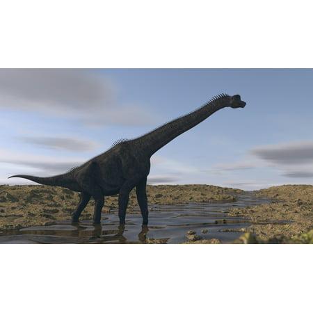 Large Brachiosaurus Walking Along A Dry Riverbed Canvas Art   Kostyantyn Ivanyshenstocktrek Images  37 X 21