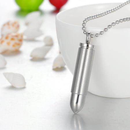 Large Karma Necklace (Large Silver Bullet Cremation Jewelry Keepsake Memorial Ash Urn Necklace)