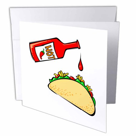 3dRose Hot sauce dripping on taco, Greeting Cards, 6 x 6 inches, set of (Pf Chang Lettuce Wrap Dipping Sauce Recipe)