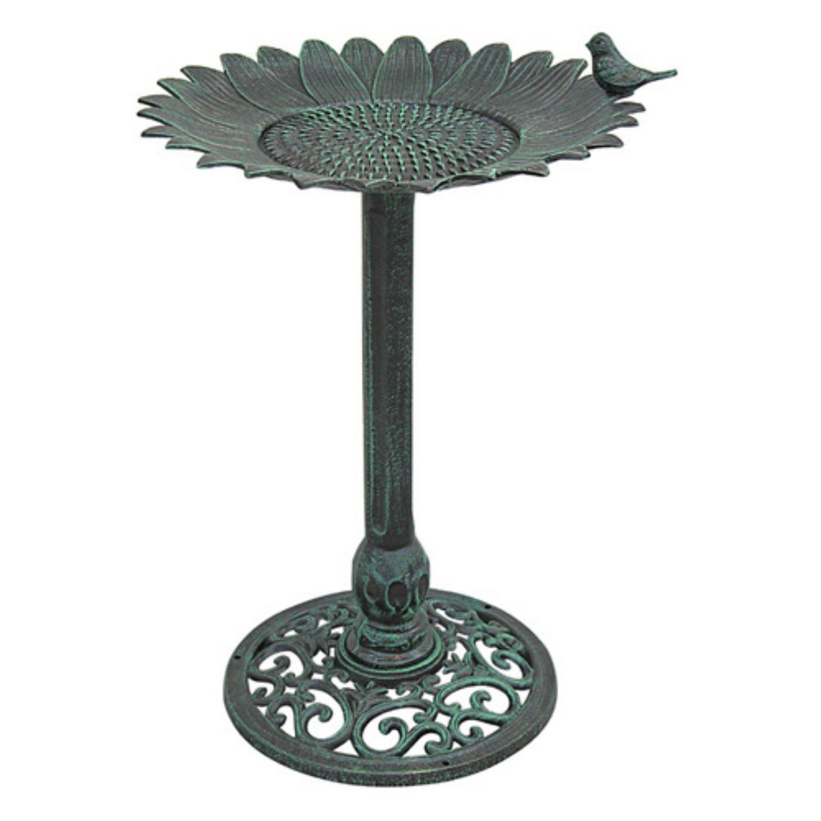 Innova Sunflower with Sitting Bird Metal Bird Bath - Verdigris Green