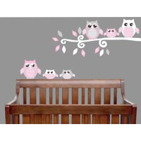 Pink  Owl Wall Decals / Owl Stickers / Forest Animal Owl Nursery Wall Decor