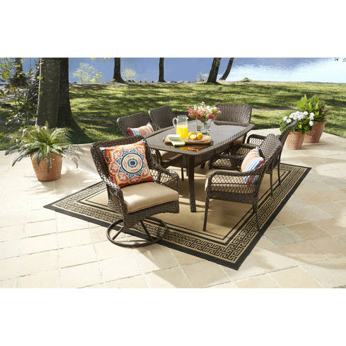 Mainstays Alexandra Square 5 Piece Patio Dining Set Grey With Leaves