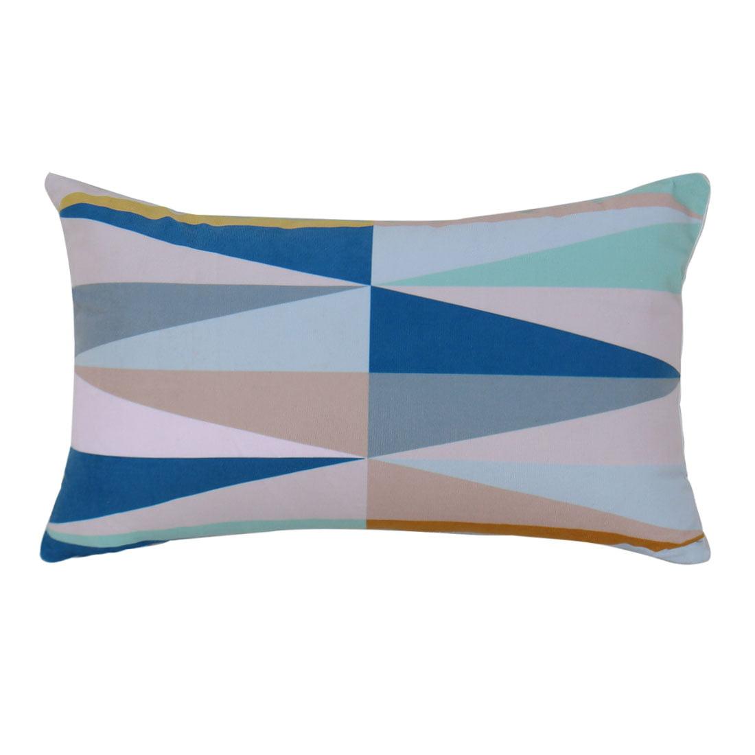 Decorative Velvet Lumbar Pillow Cover 12 x 20 Inch w Hidden Zipper, Triangle