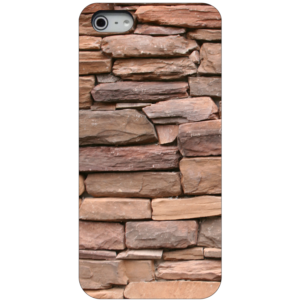 CUSTOM Black Hard Plastic Snap-On Case for Apple iPhone 5 / 5S / SE - Stacked Stone Wall