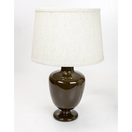 Madeleine Table Lamp Base by Laura Ashley with Hardback Shallow Drum Textured Shade