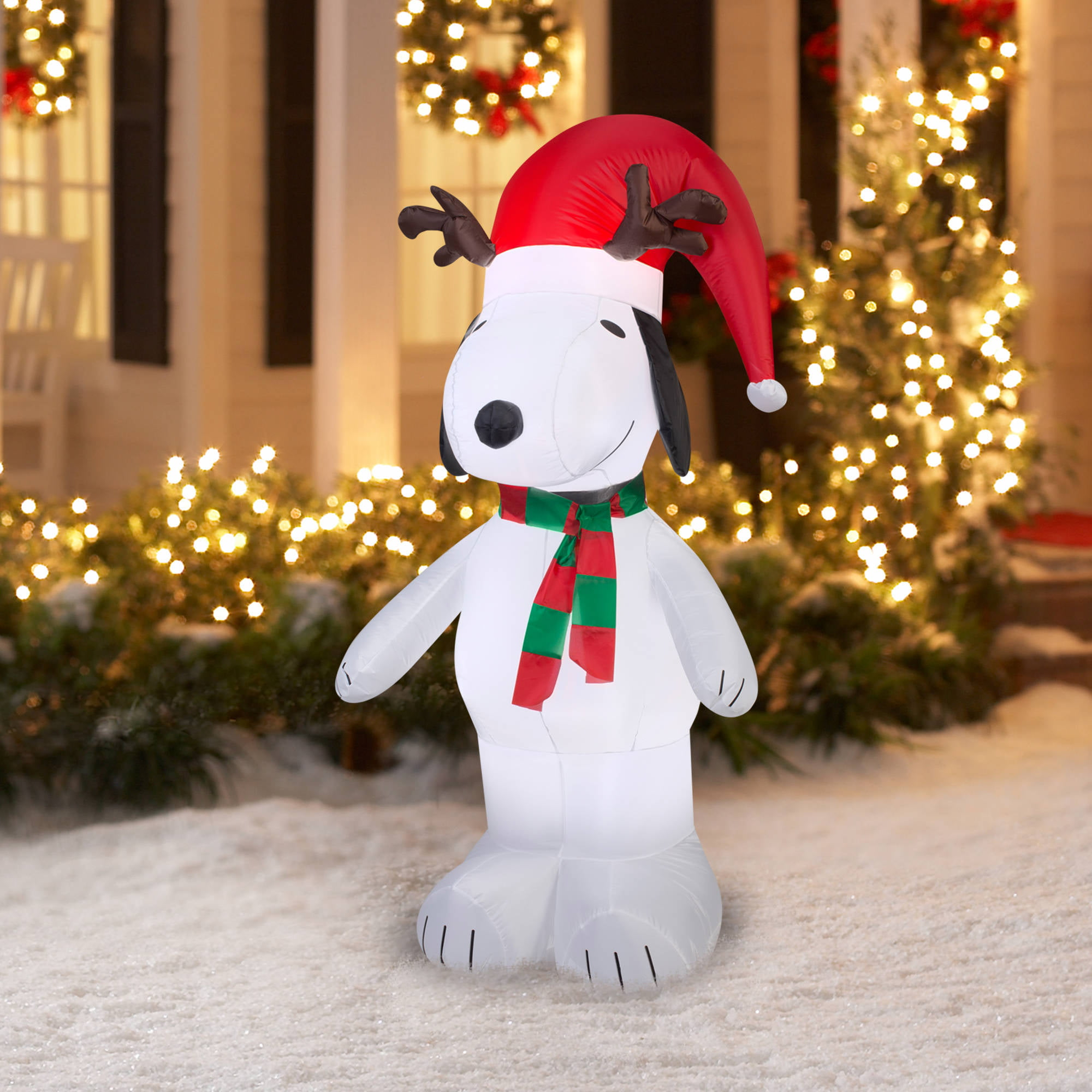 5' Airblown Inflatable Snoopy with Antlers and Santa Hat Christmas ...