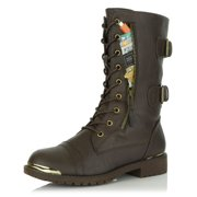 DailyShoes Women's Military Lace Up Buckle Combat Boots Mid Knee High Exclusive Credit Card Pocket Metal Front Bootie Shoes, Brown PU, 10 B(M) US