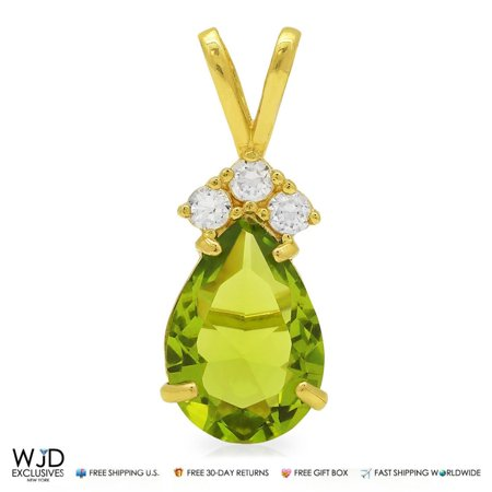 Gold Pear Charm (14k Yellow Gold 1.85TCW Diamond & Pear Shape Green Peridot Charm Pendant 0.8