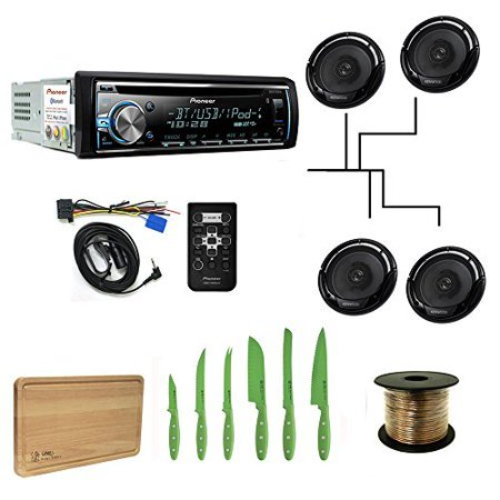 Pioneer DEH-X6800BT Single DIN Bluetooth In-Dash CD/AM/FM Receiver Bundle with 4 KFC-1665S Speakers, SW1850 Wire 50 ft. and Free Ginsu Nuri Cutlery Set