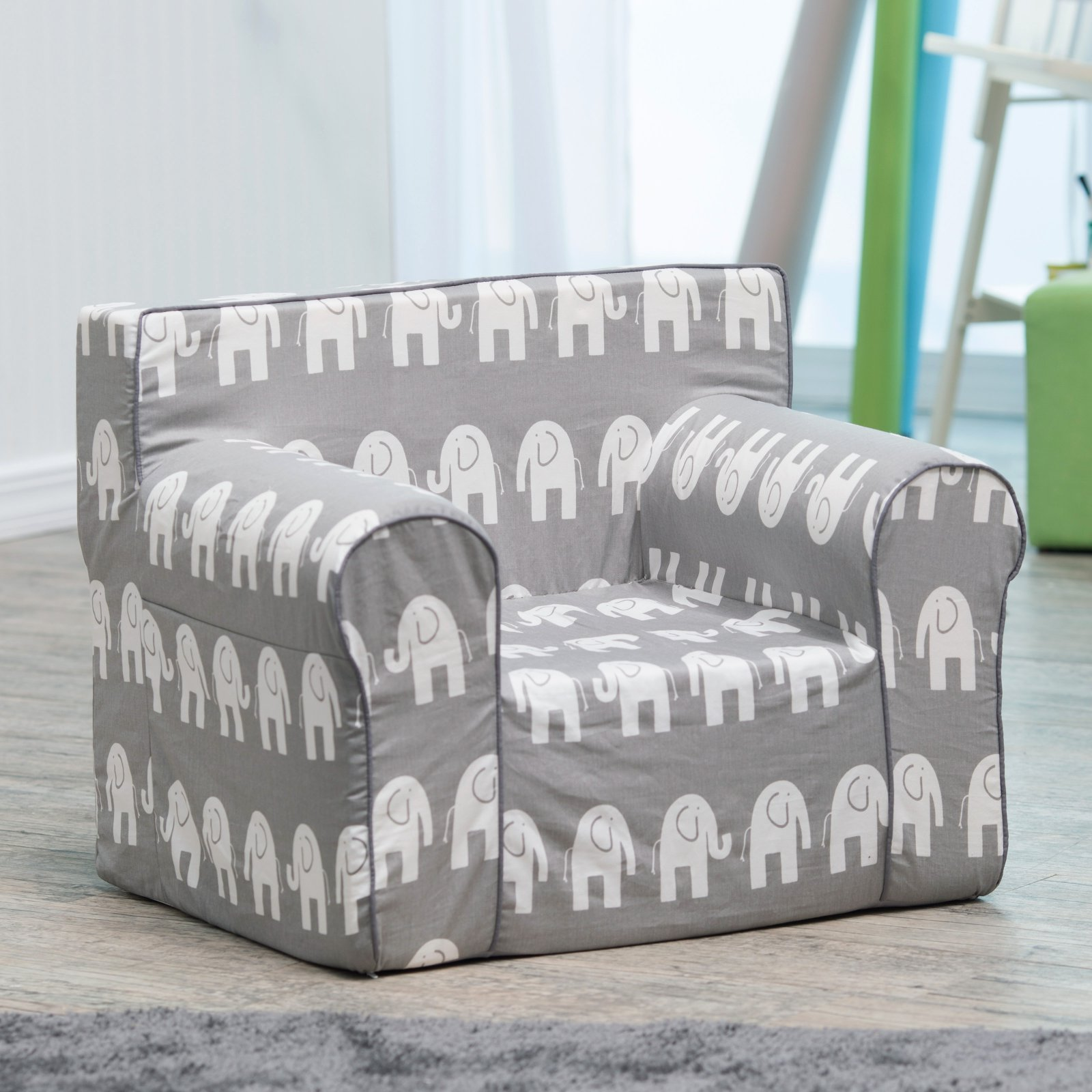 Here and There Kids Chair - Gray Elephant