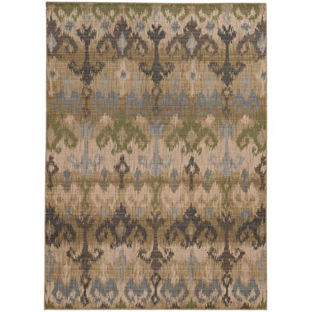 Tommy Bahama Vintage Area Rugs - 8122W Contemporary Beige Hooks Waves Curls Curves Rug