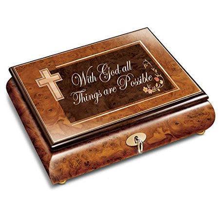 With God All Things Are Possible Burled and Inlaid Wood Music Box by The Bradford (Bradford Exchange Bunny)