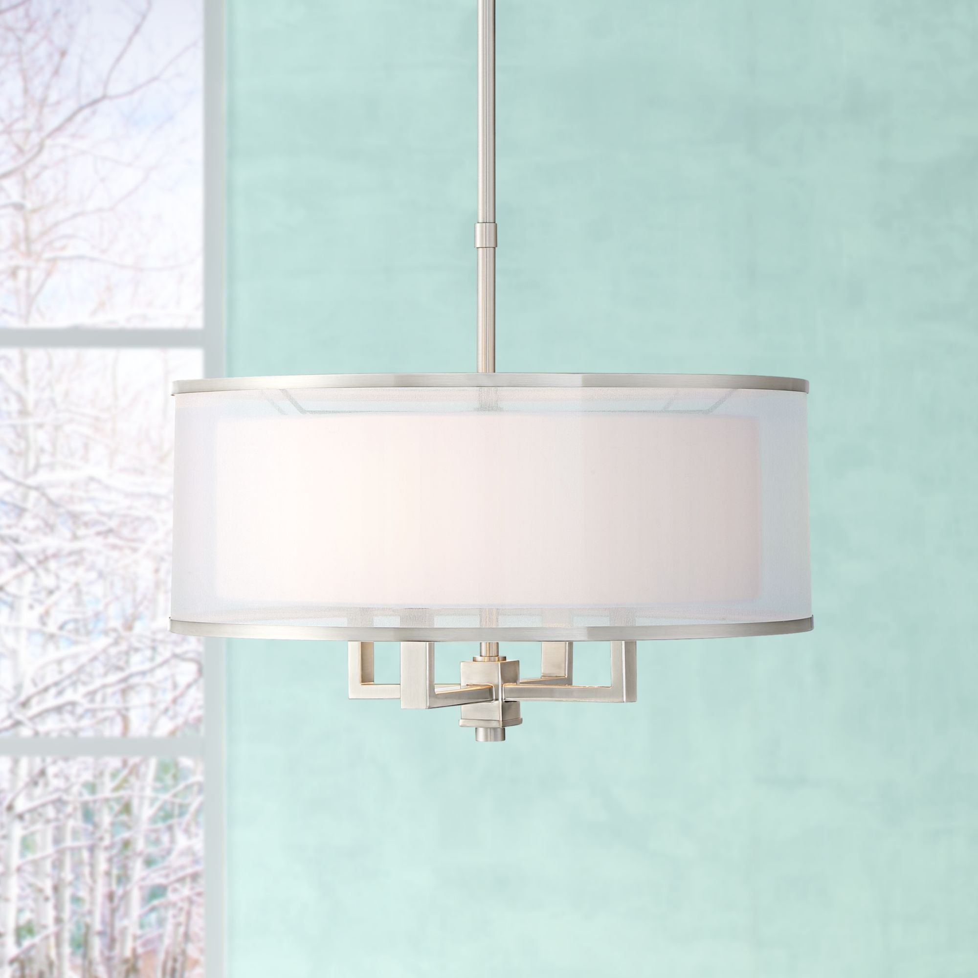 Image of: Possini Euro Design Brushed Nickel Drum Pendant Chandelier 21 Wide Silver Organza White Shade 4 Light Fixture For Dining Room Walmart Com Walmart Com