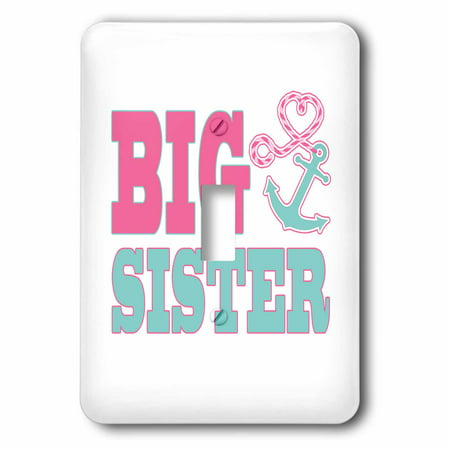 3dRose Big Sister Cute Anchor and Heart Rope Pink and Aqua, 2 Plug Outlet -