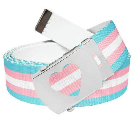 Transgender Pride Flag Stripe Military Canvas Web Belt with Heart Slider Buckle Medium Confederate Flag Belt Buckle