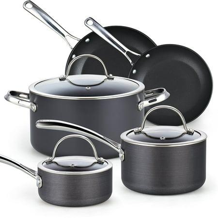 Anodized Black Metal (Cooks Standard 8-Piece Hard Anodize Nonstick Cookware Set, Black )