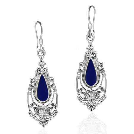 Lapis Sterling Silver Post Earrings (Victorian Style Teardrop Reconstructed Navy Blue Lapis Inlay .925 Sterling Silver Dangle Earrings)