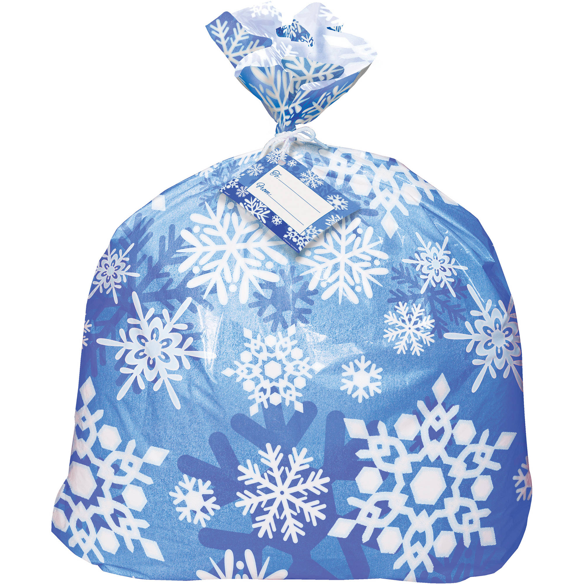 Jumbo Plastic Winter Snowflake Holiday Gift Bag