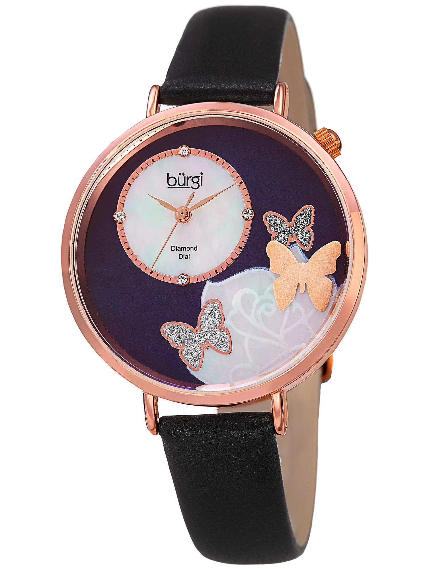 Women's Quartz Diamond Leather Black Strap Watch