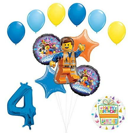 LEGO Movie Party Supplies 4th Birthday Balloon Bouquet Decorations - Lego Birthday Party Decorations