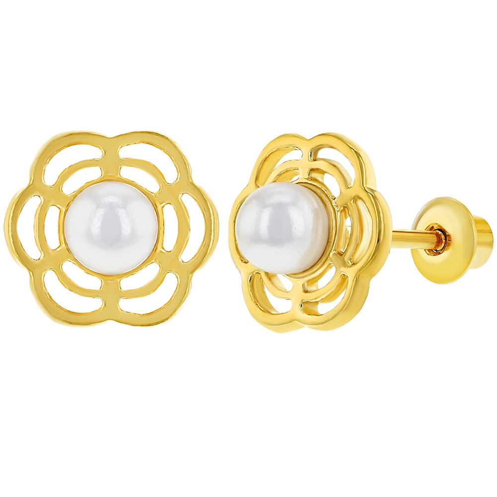 18k Gold Plated Flower White Simulated Pearl Screw Back Baby Earrings 3mm - image 6 de 6