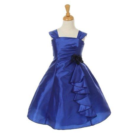 Cinderella Couture Girls Royal Blue Taffeta Corsage Flower Girl Dress 8 14