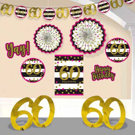 Over the Hill 'Hot Pink and Gold' 60th Birthday Room Decorating Kit (10pc) - Hill Birthday Kit