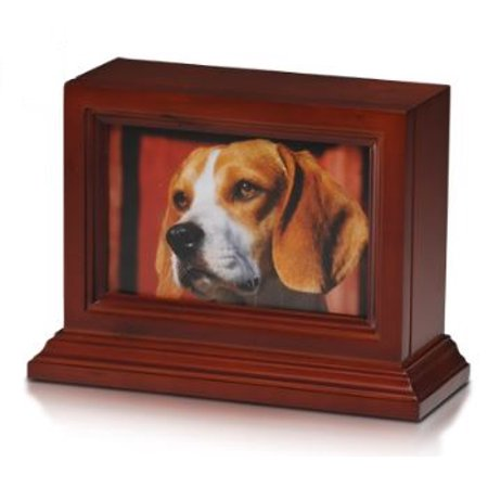 Bogati Birch Wood Photo Frame Urn With Cherry Stain & Glass Front (Birch Wood - Cherry Stain)