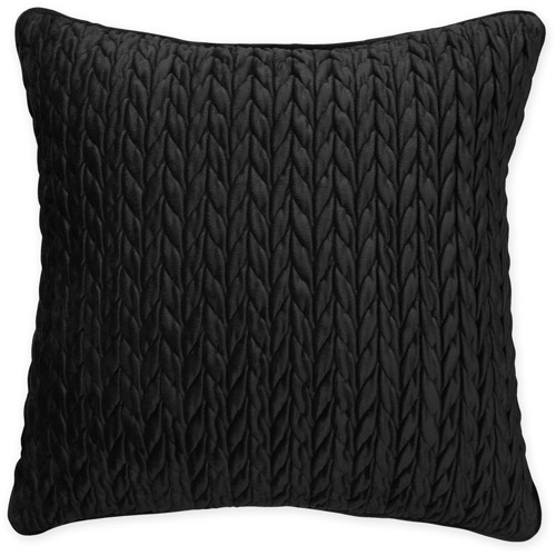 Better Homes and Gardens Cable Plush Decorative Pillow, Black