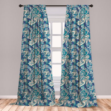 Paisley Curtains 2 Panels Set, Inspired Floral Persian Fashion Boho Art Illustration Print, Window Drapes for Living Room Bedroom, Teal Navy and Tan, by Ambesonne